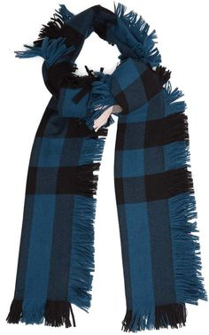 BURBERRY Checked fringed scarf