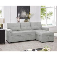 Sectional Sleeper Sofa, Futon Couch, Staying Organized, Bed Sizes, Living Spaces, Tiny Living, Living Room, 1 Piece, Velvet Furniture