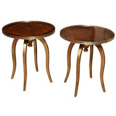 1stdibs | Round Art Deco Side Tables with Macassar and Walnut veneer
