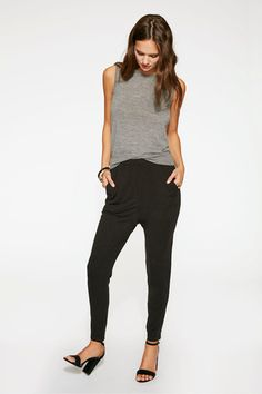 These comfortable jersey harem pants are the perfect addition to your fall wardrobe.