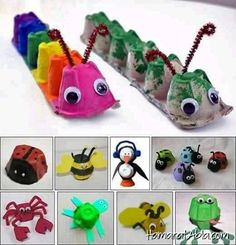 DIY kids crafts egg carton bugs to make Daycare Crafts, Preschool Crafts, Diy Crafts For Kids, Projects For Kids, Fun Crafts, Project Ideas, Craft Ideas, Children Crafts, Recycled Projects Kids