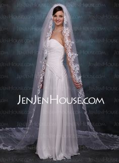 Wedding Veils - $49.99 - Cathedral Veils Tulle One-tier Lace Applique Edge Wedding Veils With Classic (006020359) http://jenjenhouse.com/Cathedral-Veils-Tulle-One-tier-Lace-Applique-Edge-Wedding-Veils-With-Classic-006020359-g20359