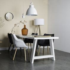 Zuiver A-framed table is a zesty addition to your interior Pine Table, Wood Floor Lamp, Table, Pine Dining Table, Furniture, Interior, Dining Table Design, Wood Floors, Home Decor