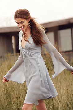 A boho peasant number complete with flowy bell sleeves. From the free-spirited collection of iconic British label Ghost. Fashion News, Boho Fashion, Fashion Beauty, Autumn Fashion, Casual Dresses, Short Dresses, Summer Dresses, Country Chic Outfits, Bohemian Mode