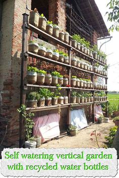 Self watering vertical garden with recycled water bottles Here is a great vertical garden that you can build, this sort of gardening is good for many reason for example ideal for people with limited amount of land or just if you are busy and do not have a lot of time to water your garden. The green …