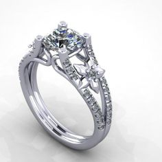 $1400 Floral design engagement ring, white gold diamond wedding ring.style 28WDLY