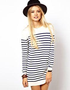 ASOS Striped Knit Jumper Dress Knit Sweater Dress, Sweatshirt Dress, Dress  Robes, Striped ee12b28a8aa4