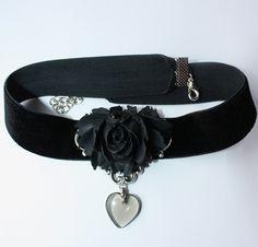 Black rose chocker by Pinkabsinthe.deviantart.com on @deviantART