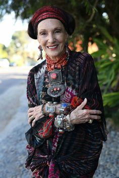 """""""Never Do when you can Overdo!"""" 82-year old artist Barbara Chapman  http://advancedstyle.blogspot.com/2015/08/never-do-when-you-can-overdo.html"""