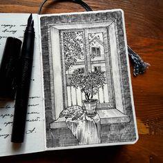 "2,739 Likes, 31 Comments - Alexey Pastukhov (@alexsaypast) on Instagram: """"Windows"" #sketchbook #sketch#sketching#hahnemühle #pendrawing #linedrawing #inksketch #inkpen…"""