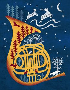 French Horn by Lynn Hatzius Horn Instruments, Musik Illustration, Mellophone, Surreal Collage, Geek Decor, French Horn, Christmas Music, Xmas, Doodle Designs