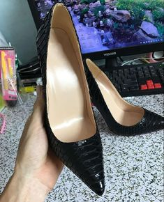 2018 American black snakeskin heels with a fine tip 10cm 12 cm sexy female  size shallow mouth leather shoes plus size