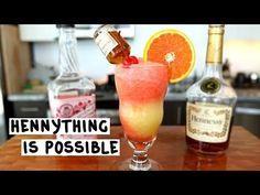 HENNYTHING IS POSSIBLE Yellow Layer: 1 1/2 oz. (45 ml) Hennessy 1 oz. (30 ml) Triple Sec 2 oz. (60 ml) Orange Juice 1 oz. (30 ml) Pineapple Juice Red Layer: 1 1/2 oz. (45 ml) Hennessy 1 oz. (30 ml) Sweet Revenge 1 oz. (30 ml) Strawberry Daiquiri Mix 3 oz. (90 ml) Fruit Punch Garnish: 1 Hennessy Mini Bottle Orange Slice Maraschino Cherry PREPARATION 1. In a blender with ice, combine Hennessy, Triple Sec, Orange Juice, and Pineapple Juice. Blend thoroughly. 2. In a separat...