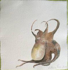 """Pulpo equilibrista"" watercolor on handmade cotton paper, 21x21cm #octopus #animal #watercolor"