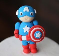Fondant Cake Topper - 20-Piece Captain America Superhero-Themed Fondant Cake Topper - Perfectly Matches our Cupcake Toppers on Etsy, $49.99