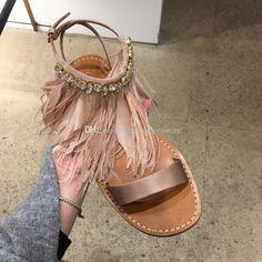 d7f9bcfdda0e3 2017 Summer New Women Sandals 2017 Fashion Bohemia Women s Shoes Ankle  Diamond Feather Strap Sandalias Flat Satin Sandal Beach Shoes