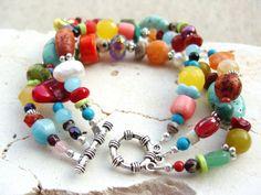 Multi Color. Semi Precious Stones. Multi Strand Toggle Bracelet. $22.00, via Etsy.