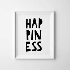 Baby room art, printable nursery, wall art, Happiness print, black and white poster, Instant download, Scandinavian art, kids bedroom sign