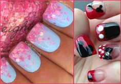 Image via Spring purple manicure with daisies and polka dots Image via Pink shade with glitter spring nails art! A sweet accessory to lead us into Spring! Image via Match these wi Short Nail Designs, Nail Designs Spring, Simple Nail Designs, Bling Nails, Glitter Nails, Fun Nails, Purple Manicure, Dot Nail Art, Polka Dot Nails