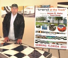 """Artist with the design maquette for """"Trend at the Track"""" mural project. You can now see the completed main wall across from Sebring International Raceway in Florida. Realized in stunning Italian glass mosaics!"""