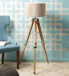 Vintage Style Handmade Chrome Wood Tripod Floor Shade Lamp Home Decor Lamp