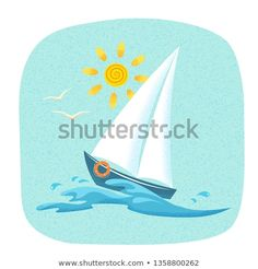 Boat Cartoon, Illustration, Sailboat, Texture, Vectors, Artists, Paintings, Pictures, Livres