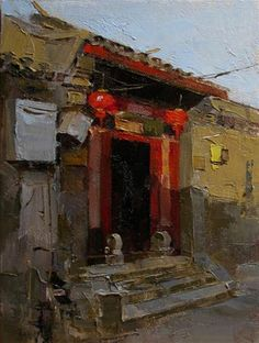 """Daily Paintworks - """"Gate with Red Lanterns"""" - Original Fine Art for Sale - © Qiang Huang"""