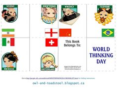 World Thinking Day minibook featuring Brazil, China, England, India, Mexico, Switzerland.  http://owl-and-toadstool.blogspot.ca/2013/02/mini-thinking-day-passport.html
