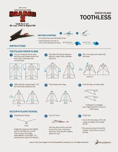 Toothless Paper Plane; How to Train Your Dragon 2 #DragonsInsiders #HTTYD2 #DragonsDay #Printables