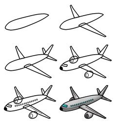 How to draw a simple ✈️ plane for kids!