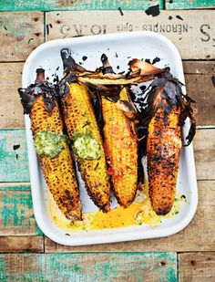 Barbecued or Griddled Sweetcorn with Flavoured Butters from Levi Roots' Grill it With Levi cookbook. Perfect for vegetarians and meat eaters alike, these tasty corn on the cobs are served with coriander and lime, Parmesan and chilli butters.