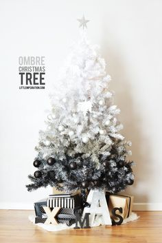 white to black ombre christmas tree (!!!)