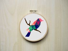 Modern Counted Cross Stitch Pattern | Colourful Patterned Bird Silhouette | Instant Download PDF by RhiannonsCrossStitch on Etsy https://www.etsy.com/listing/235654242/modern-counted-cross-stitch-pattern