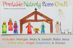 This site is one of the best I have seen for kids crafts.  I HIGHLY recommend it { Printable Nativity Scene Craft }