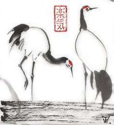 """Original sumi-e drawing  """"Graceful cranes"""" - Japanese art syle - wash ink - Wall decor - painting from AnimaAllegra"""