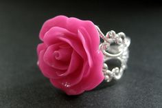 New to StumblingOnSainthood on Etsy: Hot Pink Rose Ring. Pink Flower Ring. Filigree Adjustable Ring. Flower Jewelry. Handmade Jewelry. (16.00 USD)