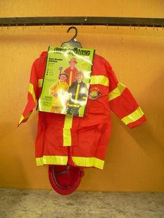 Costume Firefighter fireman Rescue Worker hero Skits Theater  Helmet  NWT Red #Seasons #CompleteCostume