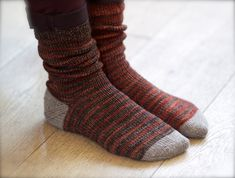 A recipe for toe-up, afterthought heel socks using a reinforced, contrasting yarn for replaceable toes and heels.