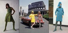 Italian fashion in 1966, from left: a cocktail dress of soft green yellow and sky blue, Ye-Ye fashions from Rome in front of the Colosseum, and a bright blue woolen coat with blue fedora hood.