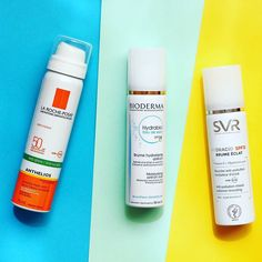 Now on the blog - a comparison between these three SPF facial sprays  . . . #skincare #skincareaddict #makeupblogger #beautygram #bbloggers #beautyblogger #bgblogger #suncare #sunprotection #svrlaboratoires #larocheposay #bioderma #hydrabio #anthelios #hydracid #flatlay #colorblocking #summer2017 #summerskincare #spf #bloggerlife