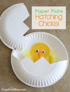 Crafts Made With Paper Plates Paper Plate Craft Hatching Chicks Frugal Fun For Boys And Girls Duck Crafts, Farm Crafts, Egg Crafts, Paper Plate Crafts, Preschool Crafts, Paper Plates, Preschool Christmas, Christmas Crafts, Spring Crafts For Kids