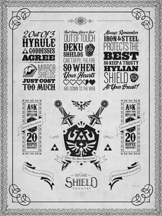 Legend of Zelda Hylian Shield Letterpress Poster by ~studiomuku