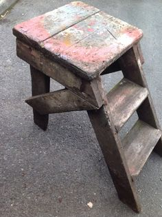 Vintage Old Steps Ladder Stool Table from Fairground