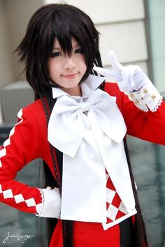 My favourite character in anime she is in Pandora Hearts her name is Alice/B.rabbit i wish someone can cosplay her like this in my birthday party