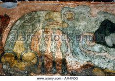 Mural at Palace of Quetzalpapalotl Teotihuacan Mexico - Stock Photo