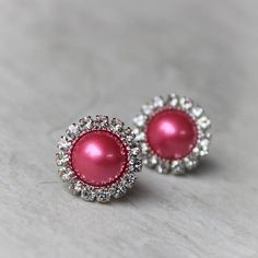 Hot Pink Earrings, Bridesmaid Jewelry, Hot Pink Jewelry, Bridesmaid Earrings Gift, Hot Pink Pearl Earrings