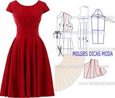 MOLDE VESTIDO VERMELHO -245 - Moldes Moda por Medida