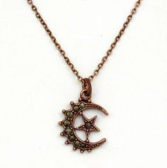 Half Moon and Star Pendant Necklace