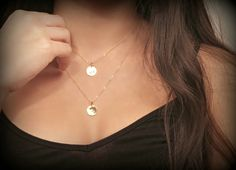 Layered Initial NecklaceFine 14K Gold Filled by potionumber9, $34.00 // Want for my girls :) A & H
