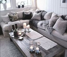 Cosy white and grey living room.